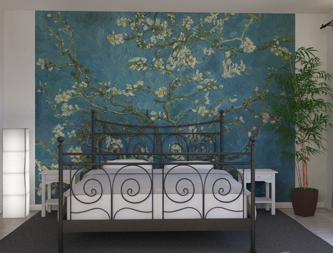 Installing an awesome van gogh almond blossom mural as for Bedroom mural painting